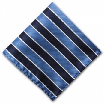 Striped Light blue and Navy Blue Pocket Square